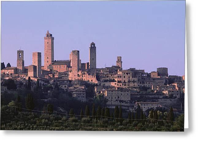 Pinkish Greeting Cards - San Gimignano, Tuscany, Italy Greeting Card by Panoramic Images