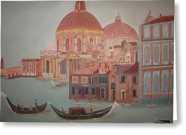 Italy Sculptures Greeting Cards - San Giorgio dei Greci Greeting Card by Charline Utley