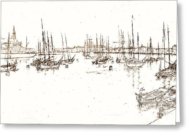 Recently Sold -  - Sailboat Art Greeting Cards - San Giorgio Italy 1886 Greeting Card by Padre Art