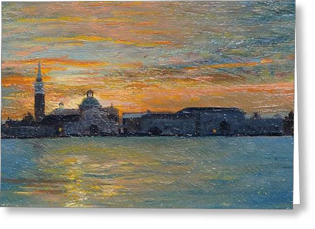 Italian Landscapes Greeting Cards - San Giorgio, Venice Lagoon, 2008 Oil On Board Greeting Card by Trevor Neal