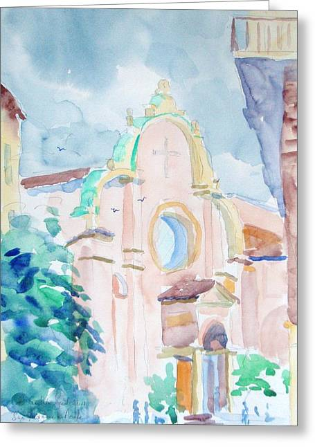 Church Pillars Paintings Greeting Cards - San Giovanni in Monte Bologna Greeting Card by Elinor Fletcher