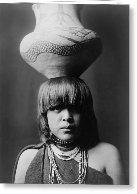 Indigenous Greeting Cards - San Ildefonso girl circa 1927 Greeting Card by Aged Pixel