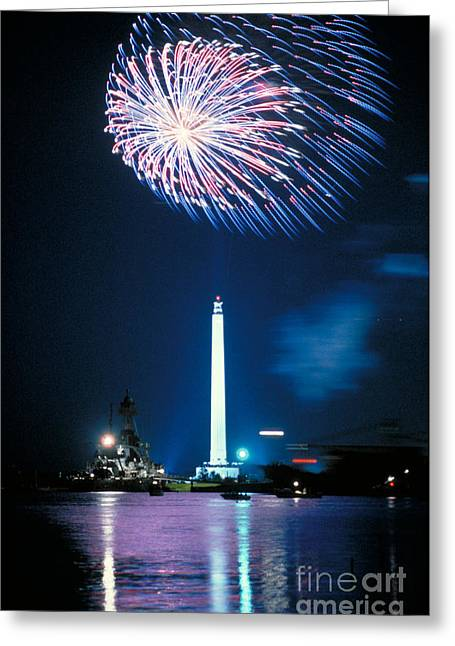 Sesquicentennial Greeting Cards - San Jacinto Monument Greeting Card by Sam C Pierson Jr