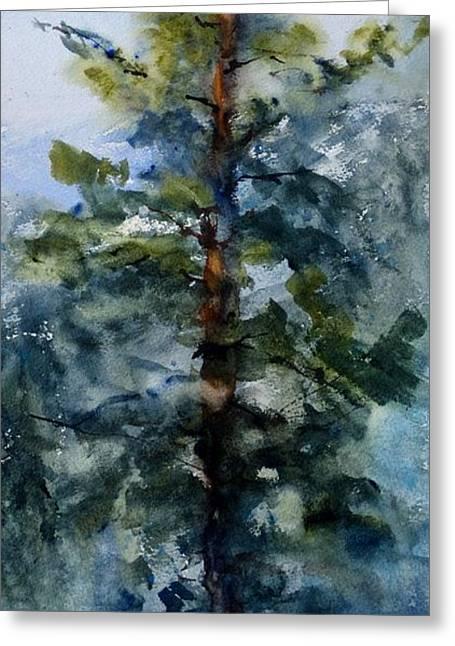 Pine Needles Paintings Greeting Cards - San Jacinto Mountain Tree Top Greeting Card by Sandra Strohschein