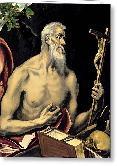 Religious Artwork Paintings Greeting Cards - San Jeronimo Greeting Card by El Greco