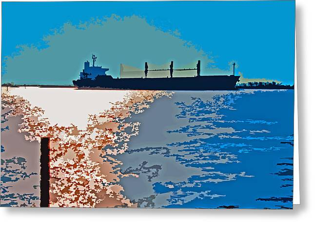 Stockton Greeting Cards - San Joaquin River Deep Water Channel Greeting Card by Joseph Coulombe