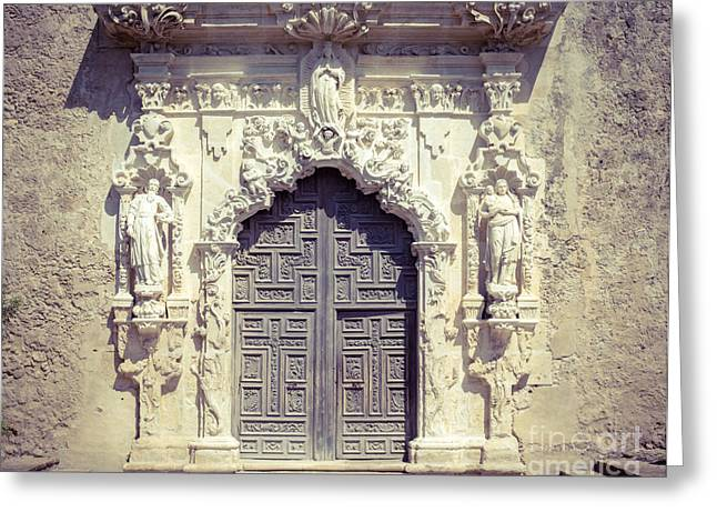 Religious Art Photographs Greeting Cards - San Jose Doorway Greeting Card by Sonja Quintero