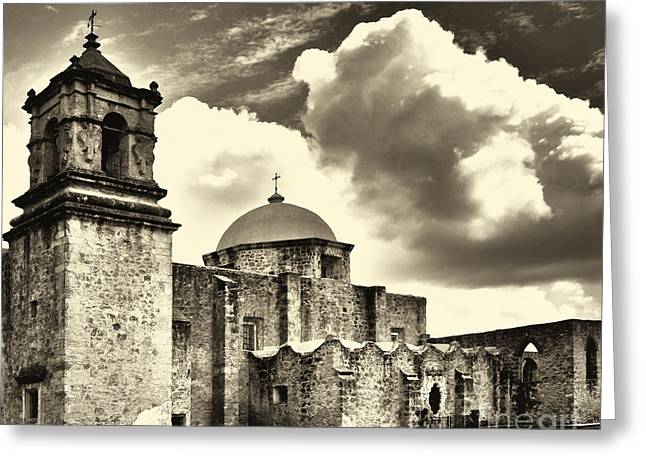Chapel Mixed Media Greeting Cards - San Jose Mission in San Antonio Texas Greeting Card by Gerlinde Keating - Keating Associates Inc