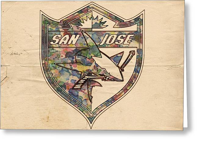 Goaltender Greeting Cards - San Jose Sharks Retro Poster Greeting Card by Florian Rodarte