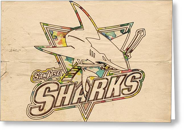 Goaltender Greeting Cards - San Jose Sharks Vintage Poster Greeting Card by Florian Rodarte