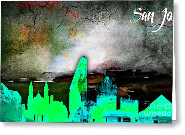 Cities Greeting Cards - San Jose Skyline Watercolor Greeting Card by Marvin Blaine
