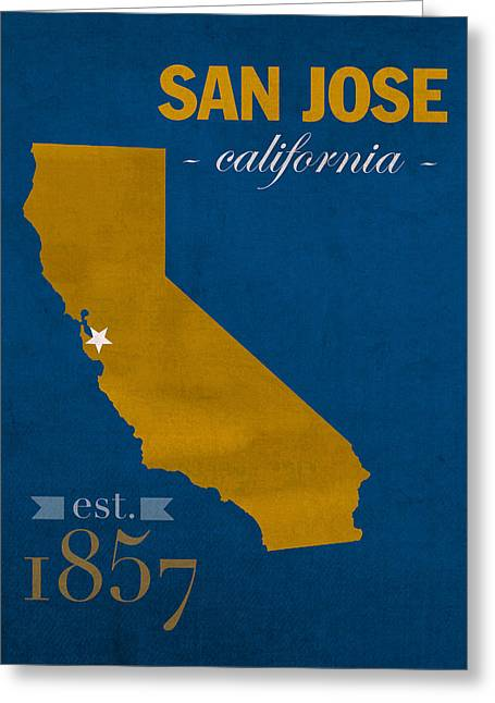 Town Mixed Media Greeting Cards - San Jose State University California Spartans College Town State Map Poster Series No 094 Greeting Card by Design Turnpike