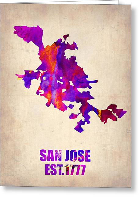 Usa City Map Greeting Cards - San Jose Watercolor Map Greeting Card by Naxart Studio
