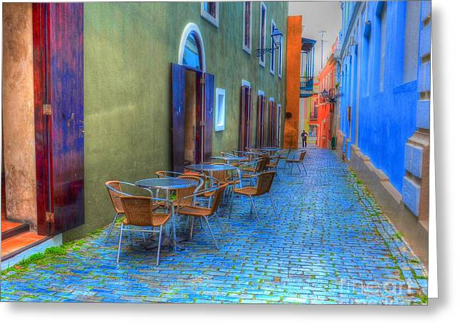 Puerto Rico Greeting Cards - San Juan Alley Greeting Card by Debbi Granruth
