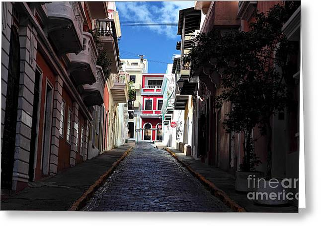 Interior Scene Photographs Greeting Cards - San Juan Alley Greeting Card by John Rizzuto