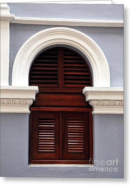 Wooden Shutters Greeting Cards - San Juan Architecture Greeting Card by John Rizzuto
