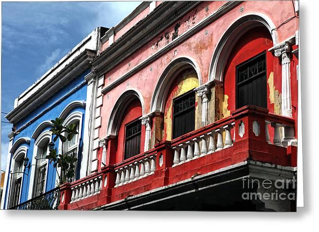Old San Juan Greeting Cards - San Juan Balcony Greeting Card by John Rizzuto