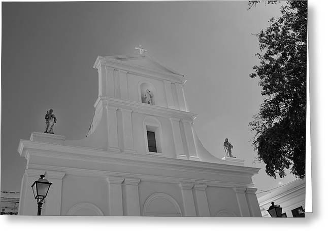 San Juan Bautista Greeting Cards - San Juan Bautista- Black and White Greeting Card by Shanna Hyatt