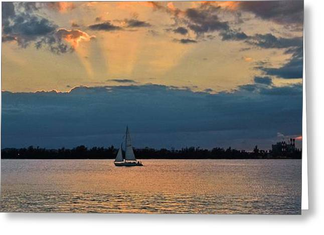 Paseo La Princesa De San Juan Greeting Cards - San Juan Bay Sunset and Sailboat Greeting Card by Ricardo J Ruiz de Porras