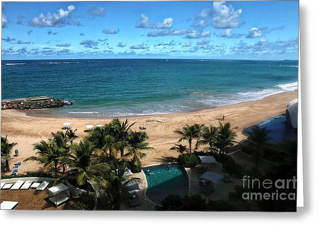San Juan Beach View Greeting Card by John Rizzuto