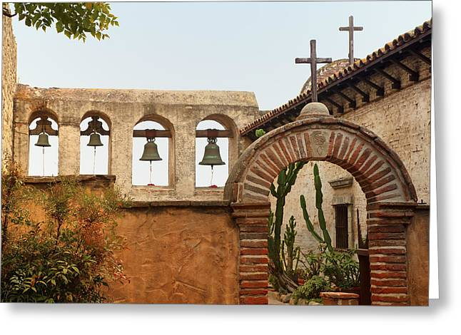 San Juan Capistrano Mission - Photography by Jo Ann Tomaselli Greeting Card by Jo Ann Tomaselli
