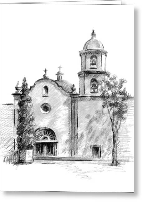 Residential Drawings Greeting Cards - San Juan Capistrano Greeting Card by Sarah Parks