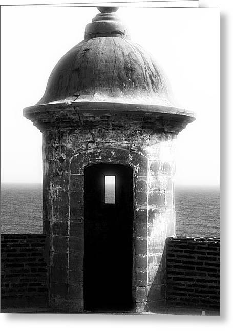 Castillo San Felipe Greeting Cards - San Juan Guard Tower Greeting Card by John Rizzuto