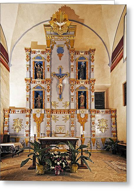 Catholic Greeting Cards - San Juan Mission altar Greeting Card by Andy Crawford