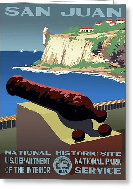 Castillo San Felipe Greeting Cards - San Juan National Historic Site Vintage Poster Greeting Card by Eric Glaser