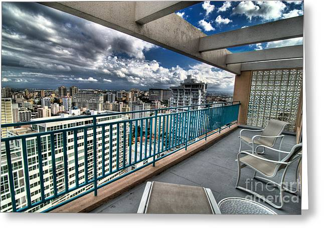 Cloudscape Greeting Cards - San Juan Puerto Rico HDR Cityscape Greeting Card by Amy Cicconi