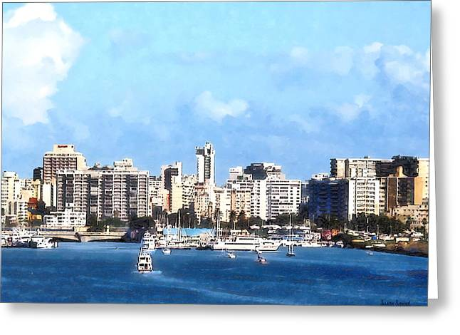 Boats Greeting Cards - San Juan Skyline Greeting Card by Susan Savad