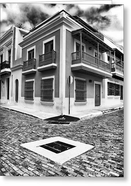 Caribbean Corner Greeting Cards - San Juan Street Angles Greeting Card by John Rizzuto