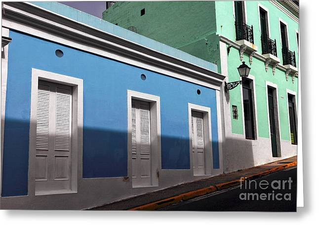 Old San Juan Greeting Cards - San Juan Street Colors Greeting Card by John Rizzuto