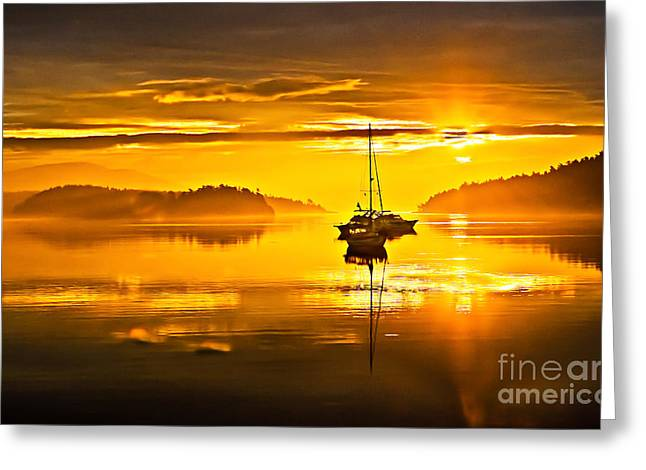 Yellow Sailboats Greeting Cards - San Juan Sunrise Greeting Card by Robert Bales