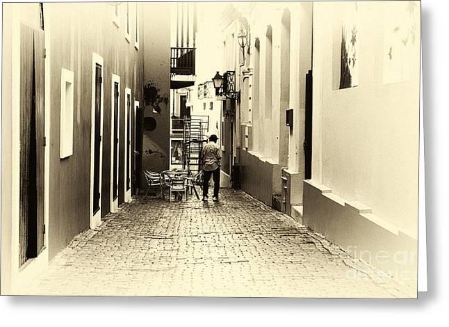 Old San Juan Greeting Cards - San Juan Yellow Tone Greeting Card by John Rizzuto