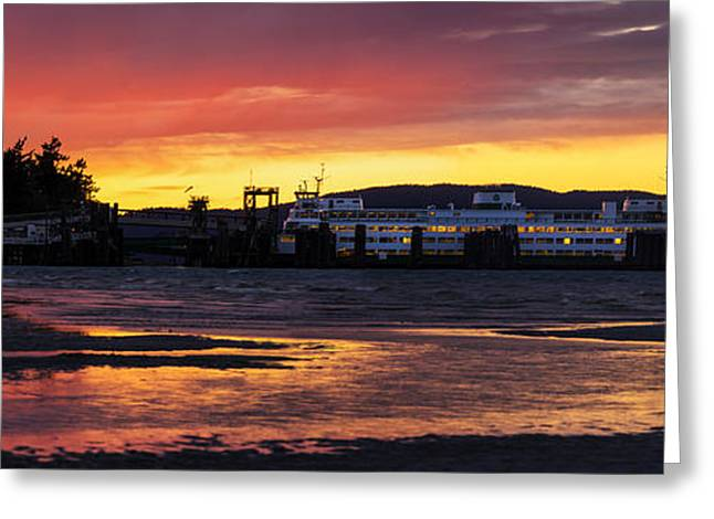 Baker Island Greeting Cards - San Juans Ferry Sunset Twilight Greeting Card by Mike Reid