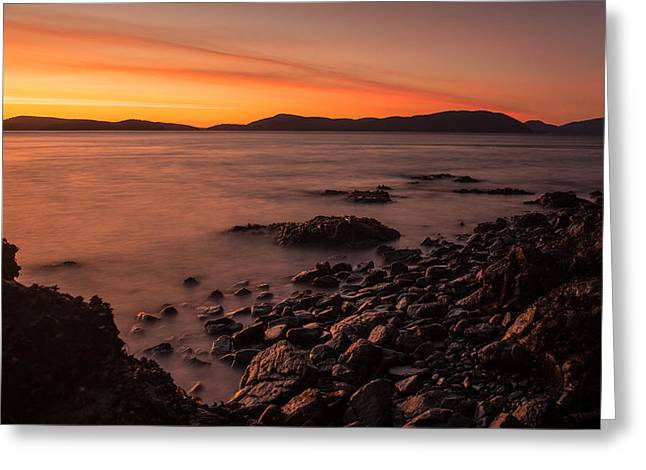 Beachscape Greeting Cards - San Juans Golden Sunset Tides Greeting Card by Mike Reid
