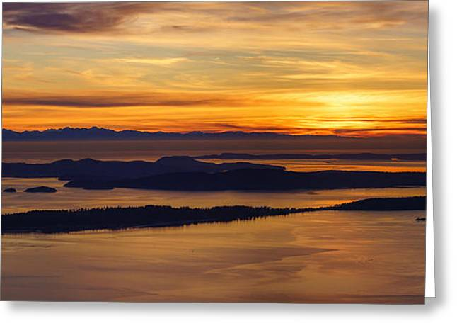 Orca Greeting Cards - San Juans Island Sunset Light Greeting Card by Mike Reid