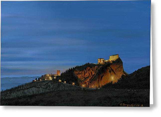 Castle On Mountain Greeting Cards - San Leo Castle Greeting Card by Cecilia  Brendel