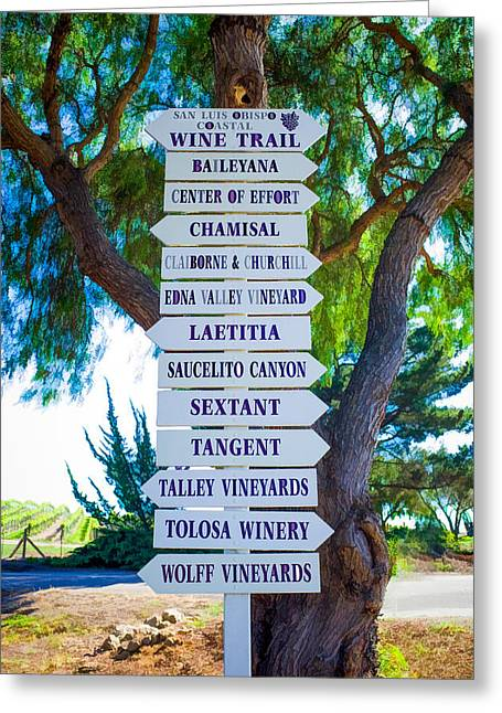 Recently Sold -  - Winetasting Greeting Cards - San Luis Obispo Coastal Wine Trail Greeting Card by Priya Ghose
