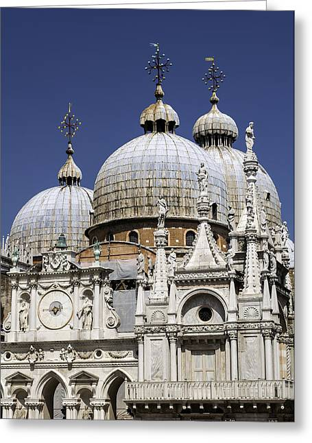 Medieval Temple Photographs Greeting Cards - San Marco Basilica. Greeting Card by Fernando Barozza