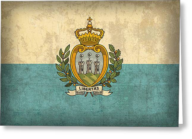 Marino Greeting Cards - San Marino Flag Vintage Distressed Finish Greeting Card by Design Turnpike