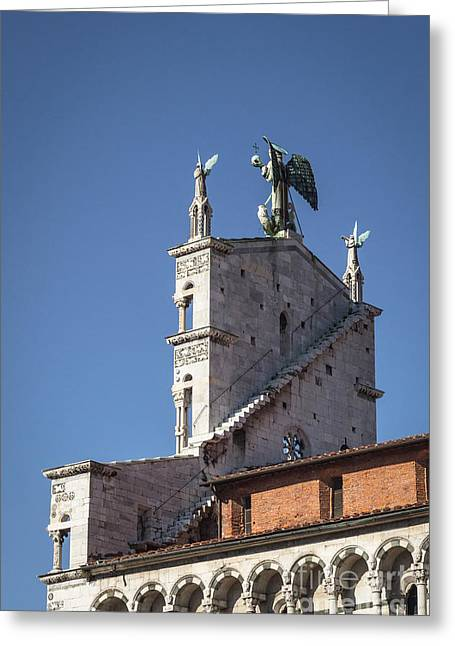 Michele Greeting Cards - San Michele in Foro back side Greeting Card by Prints of Italy