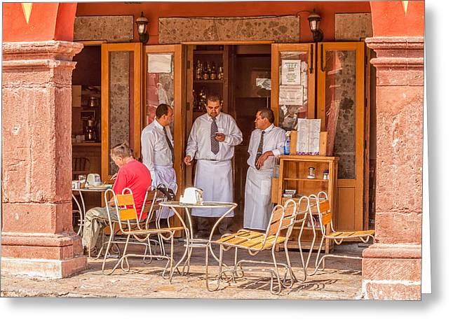 Al Fresco Greeting Cards - San Miguel - Waiting for Customers Greeting Card by Lindley Johnson