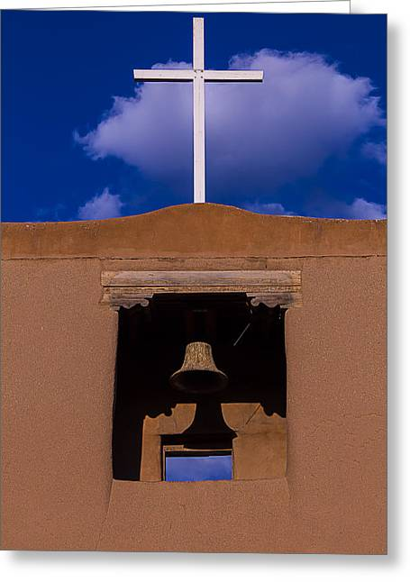 Santa Fe Greeting Cards - San Miguel Church Bell and Cross Greeting Card by Garry Gay