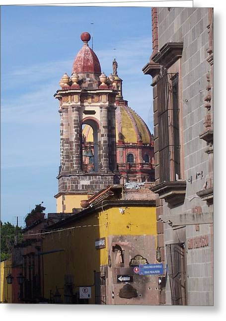 Mexico City Pyrography Greeting Cards - San Miguel Church  Greeting Card by Cristiana Marinescu