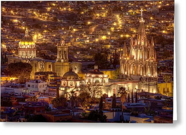San Miguel De Allende Greeting Cards - San Miguel de Allende at Night Greeting Card by Lindley Johnson