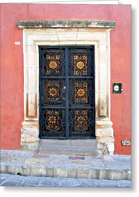 Old Door Pyrography Greeting Cards - San Miguel door Greeting Card by Cristiana Marinescu