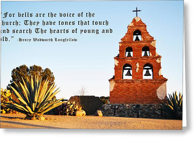 Miguel Art Greeting Cards - San Miguel Mission Bells Longfellow Quote Greeting Card by Barbara Snyder