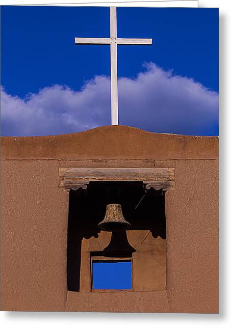 Santa Fe Greeting Cards - San Miguels White Cross Greeting Card by Garry Gay
